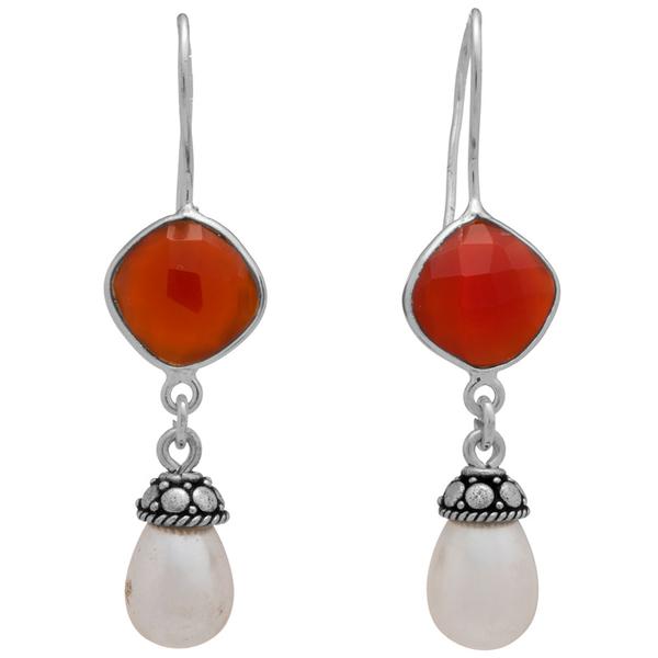 Сребърни обеци с фасетиран карнеол и перла