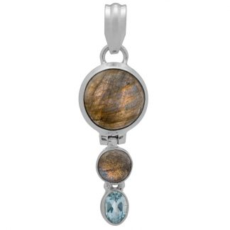 Сребърен медальон с лабрадорит и син топаз