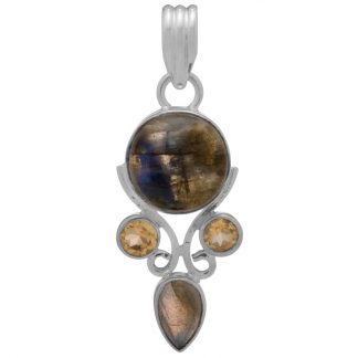 Сребърен медальон с лабрадорит и цитрини