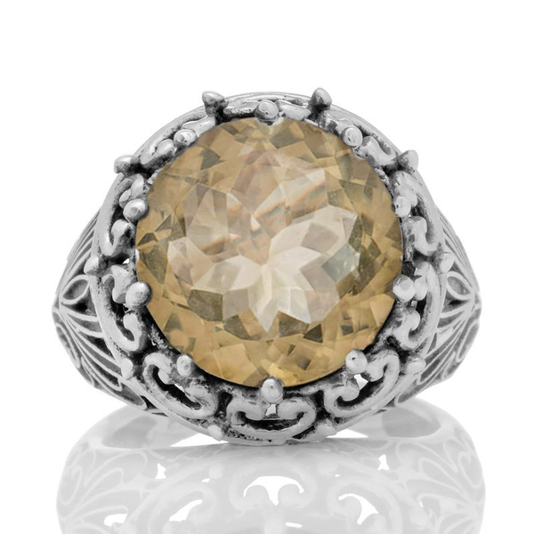 Масивен сребърен пръстен с фасетиран цитрин