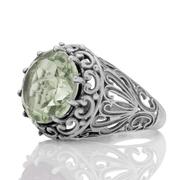 Масивен сребърен пръстен с фасетиран празиолит (зелен аметист)