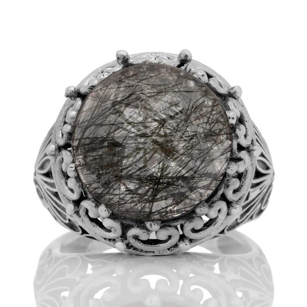 Масивен сребърен пръстен с турмалинов кварц