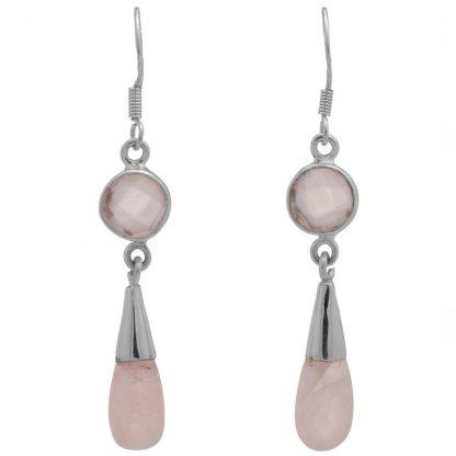 Сребърни обеци с розов кварц