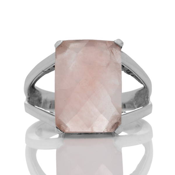 Сребърен пръстен с фасетиран розов кварц