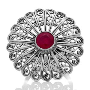 Сребърен филигранен пръстен с фасетиран рубин