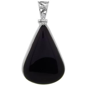 Сребърен медальон с черен оникс