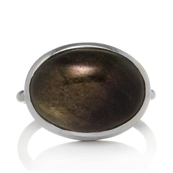 Сребърен пръстен със златен обсидиан