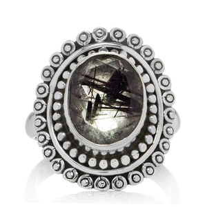 Сребърен пръстен с фасетиран турмалинов кварц