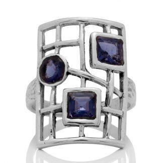 Сребърен пръстен с иолити