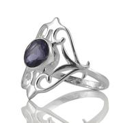 Сребърен пръстен с иолит