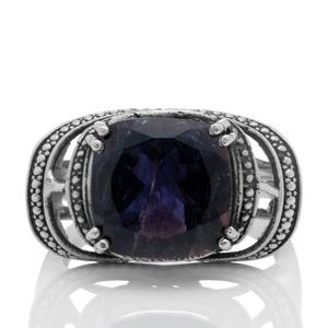 Сребърен пръстен с фасетиран иолит