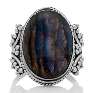 Масивен сребърен пръстен със син лабрадорит