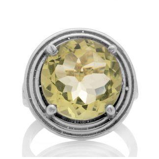 Сребърен пръстен с едър лимонов кварц