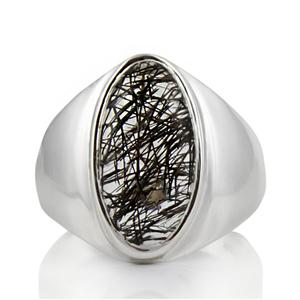 Сребърен пръстен с кабошон турмалинов кварц