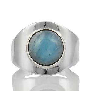 Сребърен пръстен с кабошон аквамарин