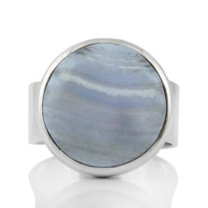 Изчистен сребърен пръстен със син дантелен ахат