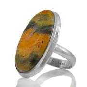 Масивен сребърен пръстен с бъмбълби яспис