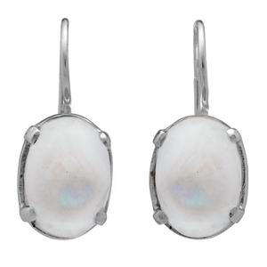 Сребърни обеци с кабошон лунен камък