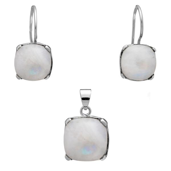 Сребърен комплект обеци и висулка с лунен камък