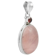 Сребърен медальон с гранат и розов кварц