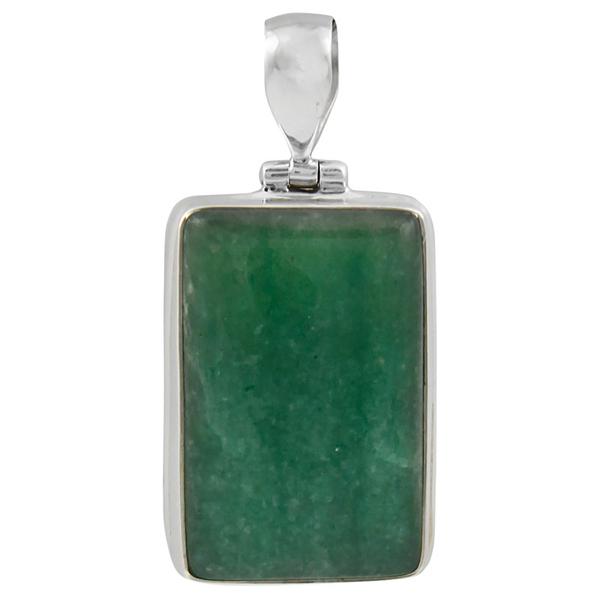 Сребърен медальон с естествен зелен авантюрин