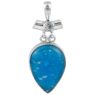 Сребърен медальон със смитсонит и син топаз
