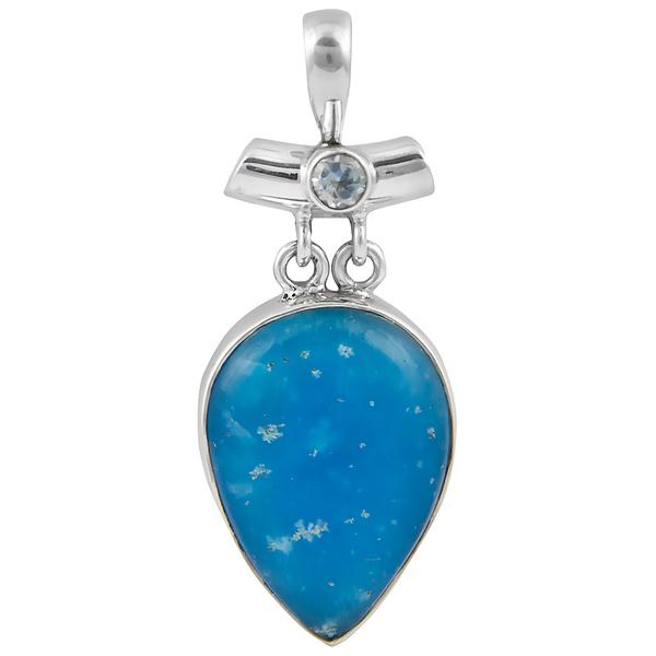 sСребърен медальон със смитсонит и син топаз