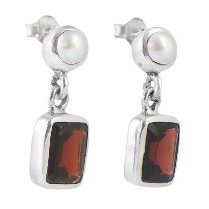 Сребърни обеци с гранат и перла на винт