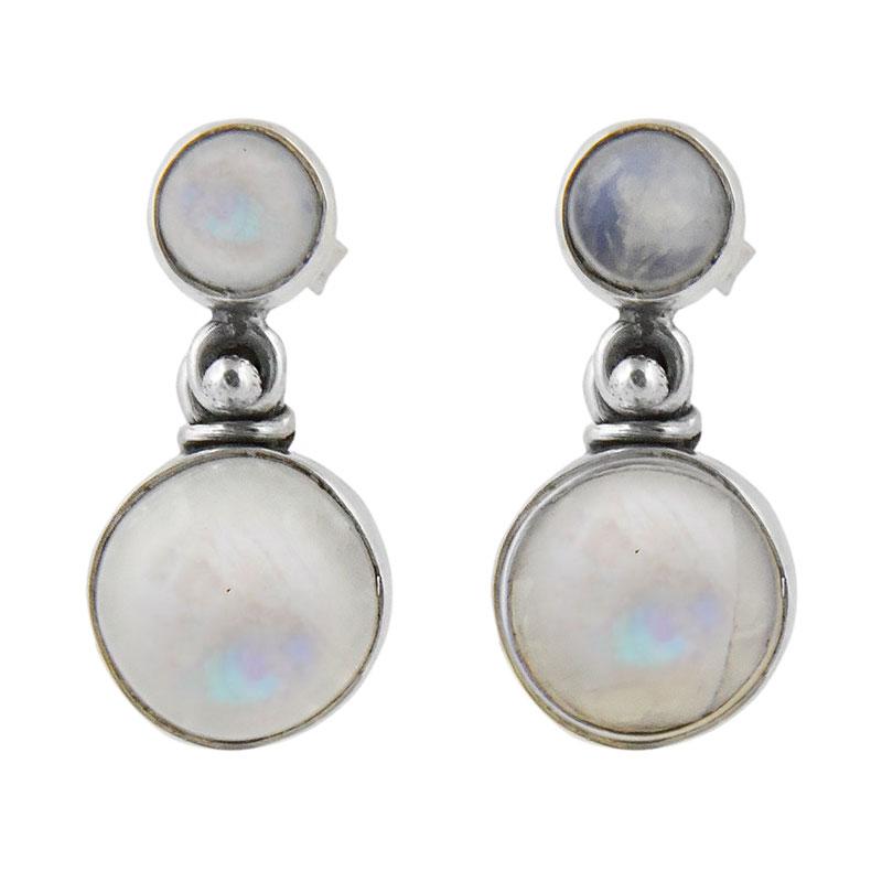 Сребърни обеци с кабошони лунен камък на винт