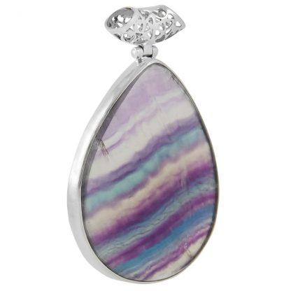 Едър сребърен медальон с многоцветен флуорит
