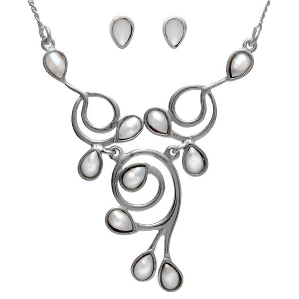Сребърен комплект нежно колие и обеци с перли