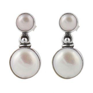 Сребърни обеци с перли на винт