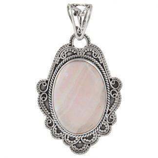 Сребърен медальон с розов арагонит