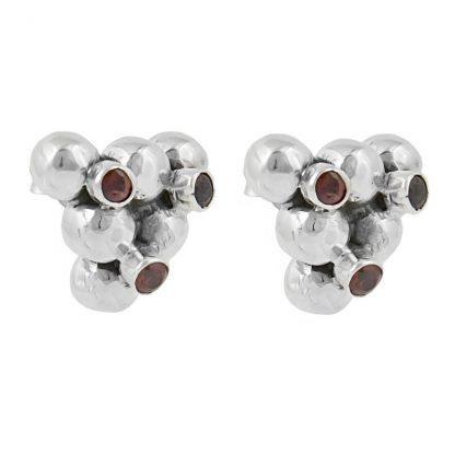 Сребърни обеци с малки гранати на винт