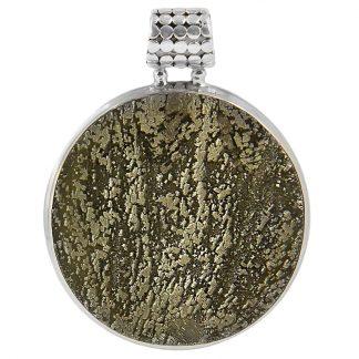 Едър сребърен медальон със слънчев пирит