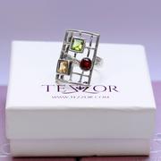 Сребърен пръстен с гранат, перидот и цитрин