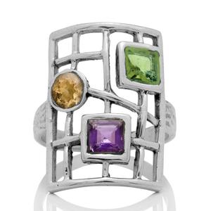 Сребърен пръстен с аметист, перидот и цитрин