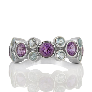 Сребърен пръстен с аметисти и сини топази