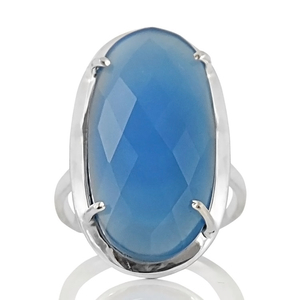 Сребърен пръстен с фасетиран син халцедон