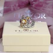 Сребърен пръстен с аметисти и цитрини