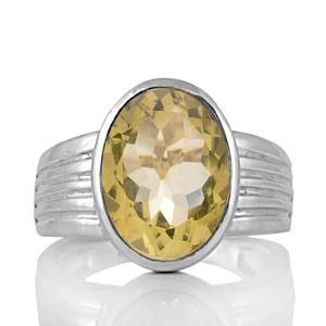 Сребърен пръстен с едър цитрин