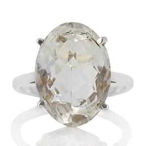 Сребърен пръстен с фасетиран планински кристал