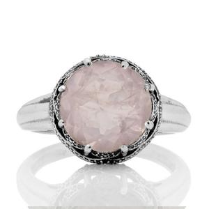 Сребърен пръстен в розов кварц в орнаментиран обков