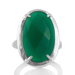 Сребърен пръстен със зелен оникс размер 56