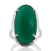 Сребърен пръстен с фасетиран зелен оникс