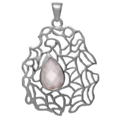 Сребърен медальон с фасетиран розов кварц