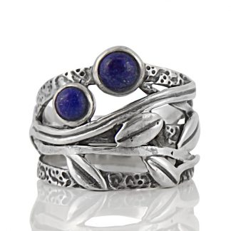 Сребърен пръстен с лапис лазули (лазурит) в орнаментиран обков