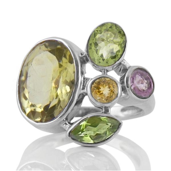 Сребърен пръстен с лимонов кварц, перидоти, цитрин и аметист
