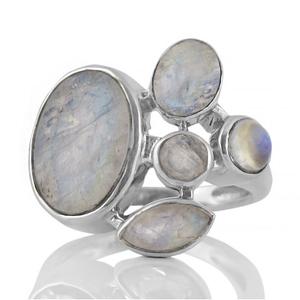 Сребърен пръстен с лунни камъни