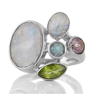 Сребърен пръстен с лунен камък, син топаз, перидот и аметист